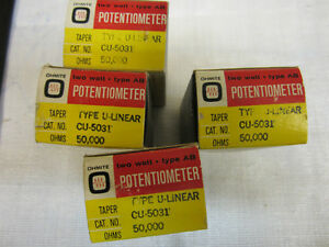 4 Ohmite Potentiometers Type U linear Cu 5031 50 000ohms