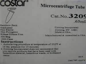 Costar Microcentrifuge Tube 65ml Cat 3209 See Pics For Specs