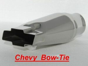 Chevy Chevrolet Bow Tie Bowtie Exhaust Tip T304 Stainless Steel 2 25 Id Inlet