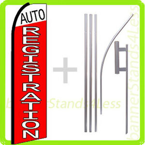 Auto Registration Swooper Flag Kit Feather Flutter Banner Sign 15 Set Q