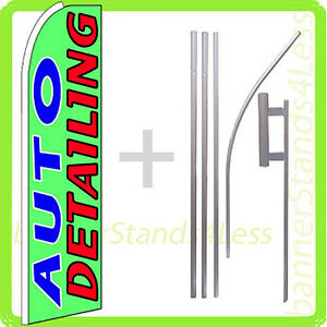 Auto Detailing Swooper Flag Kit Feather Flutter Banner Sign 15 Set Gq