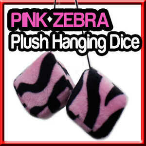 Zebra Pink Plush Hanging Dice Auto Accesory For Car Best Aaa
