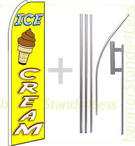 Ice Cream Swooper Flag Kit Feather Flutter Banner Sign 15 Set Q