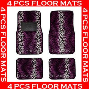 4 Pcs Leopard Purple Carpet Floor Mats For Car Suv Best Quality Aaa
