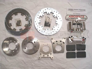 Aerospace Ford 8 8 Rear Pro Street Disc Brakes 5 Lug Drilled Rotors Kit E Brake