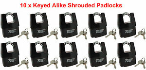 10 X Keyed Alike Shrouded Padlock W Weatherproof Cover 2 1 2 64mm By Nu set