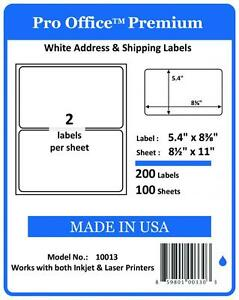 Po13 2000 Pro Office Premium Shipping Label Self Adhesive Ebay Paypal Half Sheet