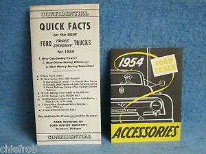 1954 Ford Truck Accessories Confidential Facts Booklets Nos Unused Original