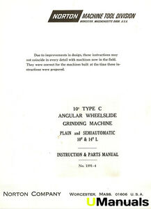Norton 10 Type C Grinder Instruction And Parts Manual