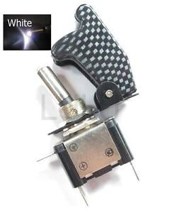 Aircraft Toggle Switch W Carbon Cover White Led 12v Cw1