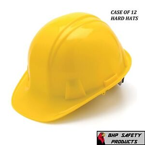 Pyramex Cap Style Safety Hard Hat Yellow 4 Point Ratchet Construction 12 Hats