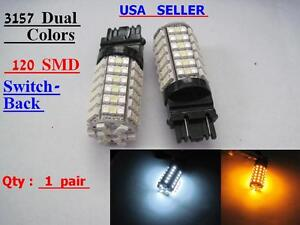 4x 3157 4157 120 Smd 3528smd Led Switchback Dual Colors Amber White Led