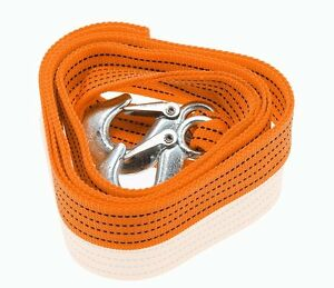 Zone Tech 3 Tons Car Tow Cable Towing Strap Rope With Hooks Heavy Duty 6 Ft