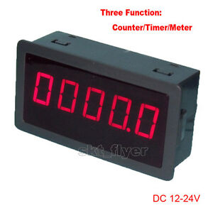 0 56 Red Led Digital Counter Meter Timer Timing Dc12 24v Car Motor Test Auto