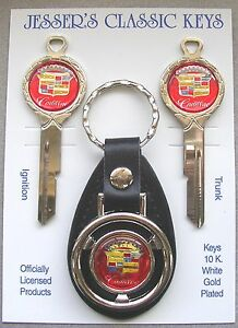 Red Cadillac Crest Deluxe Classic White Gold Keys Set 1970 1974 1978 1982