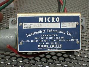 Micro Switch Bzln lh Snap Action Basic Switch 15a 125 250 Or 480vac