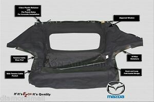 New Mazda Miata 1990 2005 Convertible Top 2 Pc Zipper With Heated Glass Window