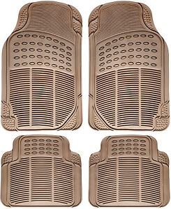 Car Floor Mats For Toyota Camry 4pc Set All Weather Rubber Semi Custom Fit Beige
