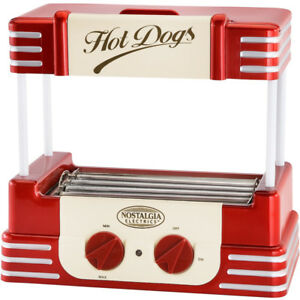 Mini Hot Dog Roller Grill Machine Bun Warmer Electric Rolling Hotdog Cooker