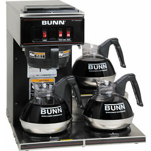 Bunn Commercial Coffee Maker Pourover Brewer Vp17 3blk Machine W 3 Warmers