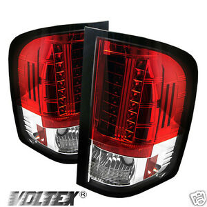 2007 2012 Chevy Silverado 1500 2500 3500 Led Tail Light Bar Lightbar Red Clear