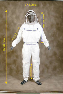 Professional Heavy Duty Bee Suit Beekeeping Supply Suit w Gloves 3x Large