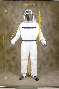 Professional Heavy Duty Bee Suit Beekeeping Supply Suit w Gloves 4x Large