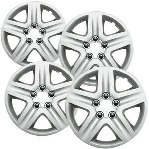 4 Pc Chevy Impala Steel Wheel Snap On Silver 17 Hub Caps 5 Spoke Fit Skin Cover