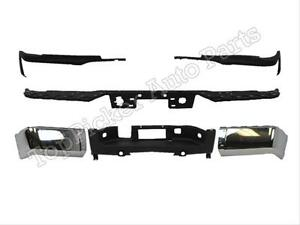 For 2007 2012 Silverado Sierra Dual Rear Bumper Rebar Cap Chr Set W Hole 6pc