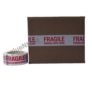 Fragile Carton Sealing Preprinted Packing Tape 2 Inch X 330 Ft 9 Rolls