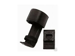 Police Uniden Motorola Leather Swivel Belt Radio Holder Strap Case Plain Black