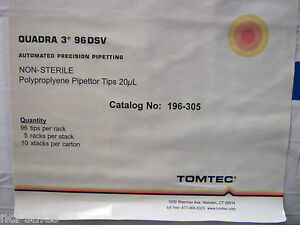 Tomtec Non sterilized Polypropylene Pipette Tips 20ul196 305 50 Racks