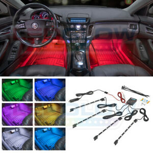 New Ledglow 4pc 7 Color Led Interior Light Kit For All Cars W Accent Neon Glow