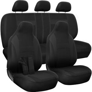 Car Seat Covers For Honda Accord Solid Black W Steering Wheel Belt Pad Head Rest