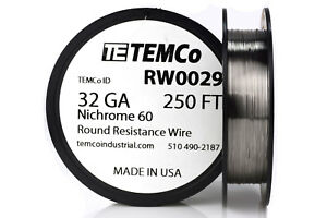 Temco Nichrome 60 Series Wire 32 Gauge 250 Ft Resistance Awg Ga