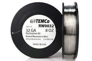 Temco Nichrome 60 Series Wire 32 Gauge 8 Oz 2782 Ft resistance Awg Ga
