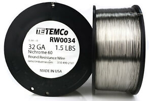 Temco Nichrome 60 Series Wire 32 Gauge 1 5 Lb 8347 Ft resistance Awg Ga