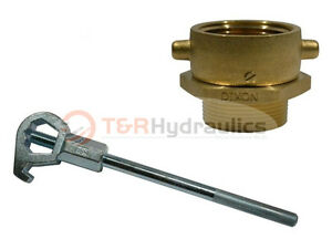 Brass Swivel Adapter Combo 2 1 2 Nst f X 2 1 2 Nst m W hd Hydrant Wrench