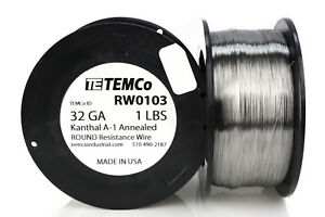 Temco Kanthal A1 Wire 32 Gauge 1 Lb 6473 Ft Resistance Awg A 1 Ga