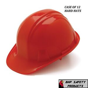 Pyramex Cap Style Red Hard Hat 4 Pt Ratchet Suspension Construction 12 Hats