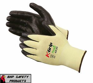 12 Pr Liberty K grip Cut Resistant Nitrile Work Gloves Made With Kevlar Large