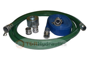 2 Green Fcam X Mp Water Suction Hose Trash Pump Complete Kit W 25 Blue Dis