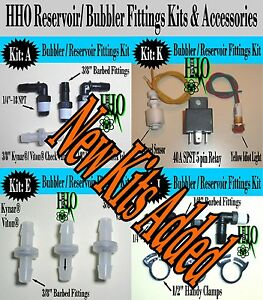 Reservoir Fittings Kits Accessories Hho Deluxe Bubbler Check Valves Dry Cell