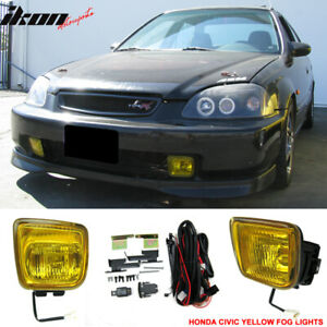Fits 96 98 Honda Civic Ek Jdm Yellow Fog Lights Lamps