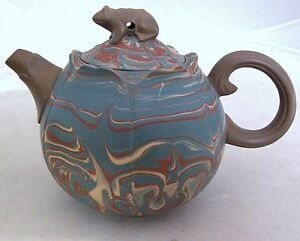 Chinese Yixing Multicolored Swirl Clay Lotus Shape Teapot W Frog 4 8