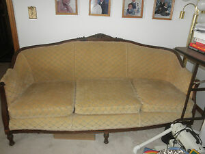Antique Couch Chair Carved Wood Pre1940s Excellent Cond Coil Spring Cushions