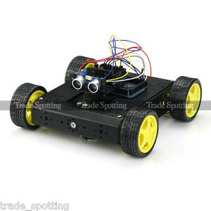Sainsmart 4wd Robot Car Mega2560 Sensor Shield V5 l298n Hc sr04 For Arduino