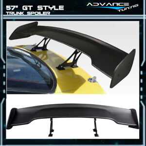 Universal 57 Inches Gt Style Adjustable Trunk Spoiler Unpainted Black Abs