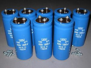 Lot Of 8 450v 1800uf Electrolytic Capacitors High voltage New In Box