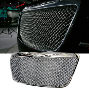 Fits 11 14 Chrysler 300 300c B Style Front Mesh Grill Grille Chrome Abs